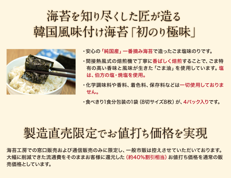 海苔を知り尽くした匠が造る 韓国風味付け海苔「初のり極味」 ・安心の「純国産」一番摘み海苔で造ったごま塩味のりです。 ・間接熱風式の焙煎機で丁寧に香ばしく焙煎することで、ごま特有の高い香味と風味が生きた「ごま油」を使用しています。塩は伯方の塩・焼塩を使用。 ・化学調味料や香料、着色料、保存料などは一切使用しておりません。 ・食べきり1食分包装の1袋(8切サイズ8枚)が、4パック入りです。製造直売限定でお値打ち価格を実現 海苔工房で窓口販売および通信販売のみに限定し、一般市販は控えさせていただいております。大幅に削減できた流通費をそのままお客様に還元した(40%割引相当)お値打ち価格を通常の販売価格としています。