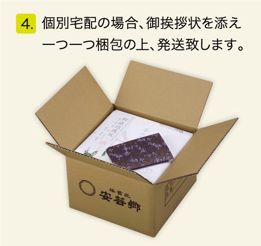 個別宅配の場合、御挨拶状を添え、一つ一つ梱包の上、発送致します。