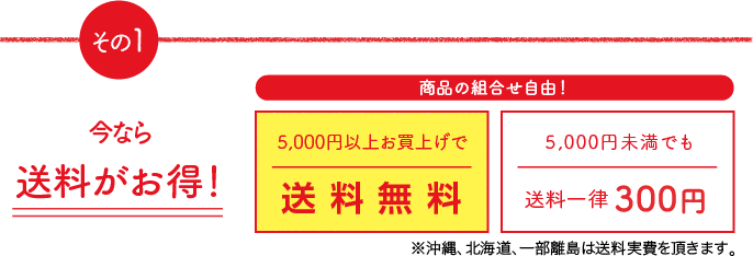その1 送料がお得。5,000円以上お買上げで送料無料