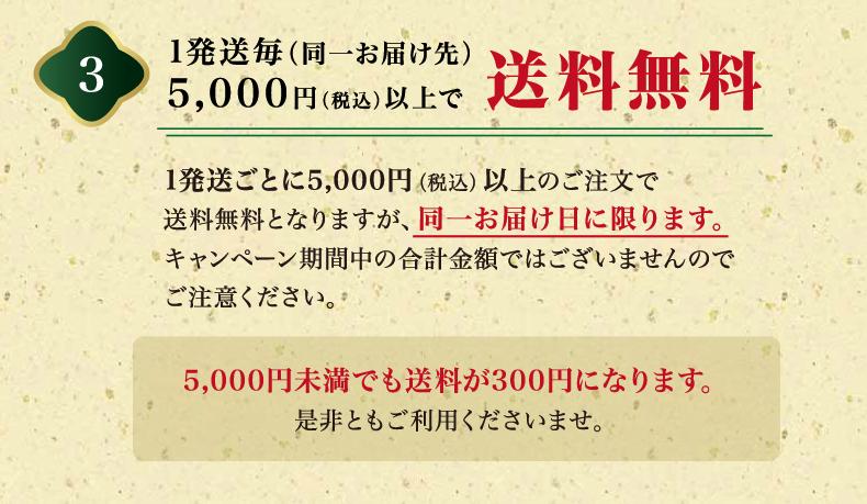 1配送ごと(同一お届け先)5000円(税込)以上で送料無料