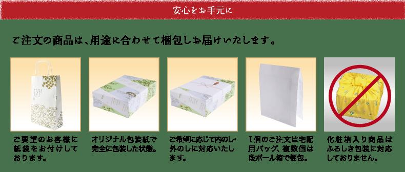 安心をお手元に。ご注文の商品は、用途に合わせて梱包しお届け致します。ご要望のお客様に紙袋をお付けしております。 オリジナル梱包紙で完全に包装した状態 ご希望に応じて内のし外のしに対応いたします、 1個のご注文は宅配用バッグ、複数個は段ボール箱で梱包。 化粧箱入り商品はふろしき包装に対応しておりません。