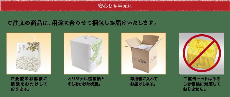 安心をお手元に。ご注文の商品は、用途に合わせて梱包しお届け致します。 ご要望のお客様に紙袋をお付けしております。 オリジナル包装紙とのしをかけた状態。 専用箱に入れてお届けします。 二重缶セットはふろしき包装に対応しておりません。