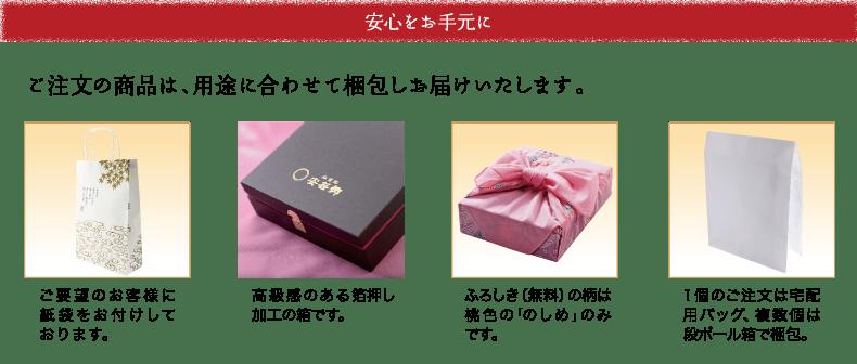 安心をお手元に。ご注文の商品は、用途に合わせて梱包しお届け致します。ご要望のお客様に紙袋をお付けしております。 高級感のある箔押し加工の箱です。ふろしき(無料)の柄は桃色ののしめのみです。 1個のご注文は宅配用バッグ、複数個は段ボール箱で梱包。